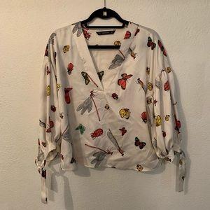 Zara silk blouse- bug pattern